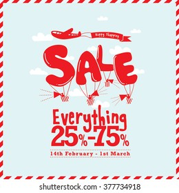 Sale poster/ Promotional items with plane, cloud, banner and text icons/ Happy shopping greetings/ Sale vector/ Balloon typography/ Hand drawn illustrations