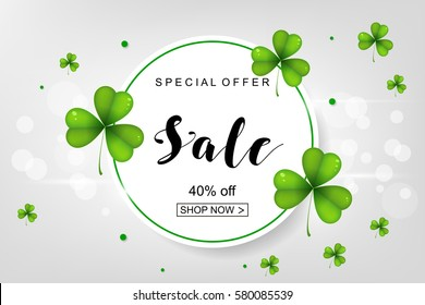Sale poster for St. Patrick's Day. Vector