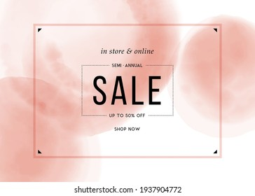Sale poster template. Abstract watercolor pink background. Good for promo, ad, web design and email design. Vector illustration.