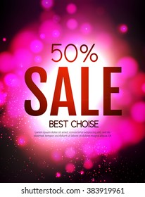 Sale Poster Template. Advertising Shining Design. Powerful Explosion. Bokeh Background. Vector illustration