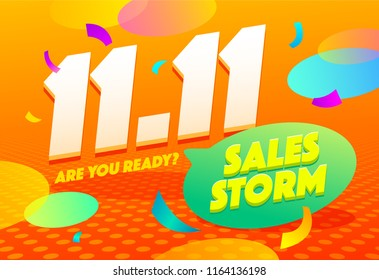 Sale poster template design. Sales storm special offer web banner. Global shopping festival special offer flyer. 11.11 vector illustration.