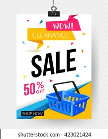 Sale poster template. Vector eps 10 format.