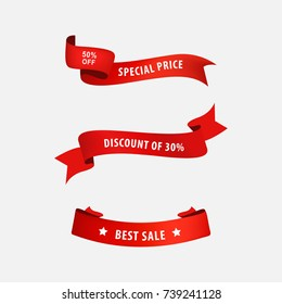 sale price banner and tag ribbon to business promotional. red ribbons set.