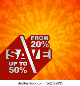 Sale price offer lettering text label on discount percents background pattern