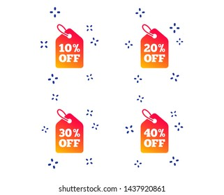 Sale price tag icons. Discount special offer symbols. 10%, 20%, 30% and 40% percent off signs. Random dynamic shapes. Gradient sale icon. Vector