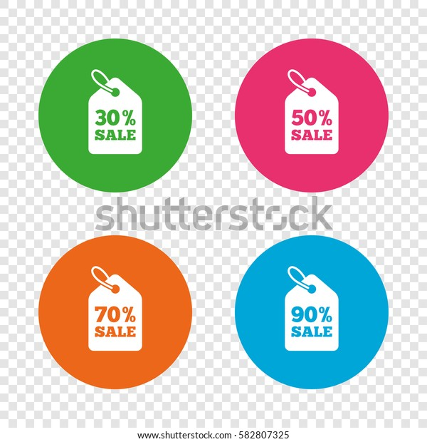 Sale price tag icons. Discount special offer symbols. 30%, 50%, 70% and 90% percent sale signs. Round buttons on transparent background. Vector
