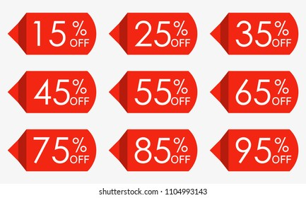Sale price tag set. Red discount icons or stickers. 15,25,35,45,55,65,75,85,95 percent off. Vector illustration.