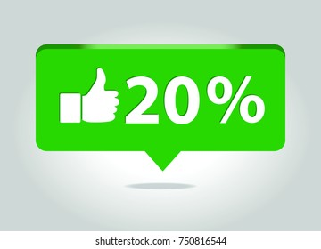 Sale price vector icon with thumbs up gesture. 20% off banner.