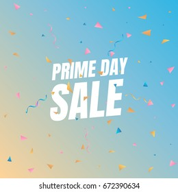Sale Prime day sale. Banner with flying confetti pieces and typography. Sale background.