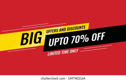 Sale Promotion Banner. Big Offers and Discounts. Upto 70% Off, limited time only. Sale banner template design, Big sale special offer. Vector Illustration.