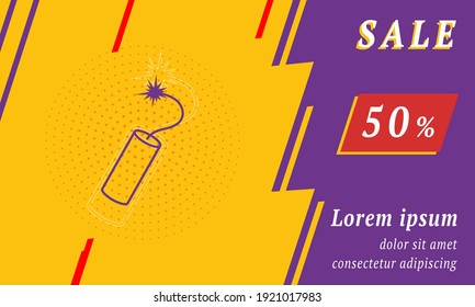 Sale promotion banner with place for your text. On the left is the dynamite symbol. Promotional text with discount percentage on the right side. Vector illustration on yellow background