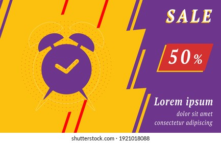 Sale promotion banner with place for your text. On the left is the alarm clock symbol. Promotional text with discount percentage on the right side. Vector illustration on yellow background