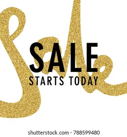 SALE Promotion luxury banner, price tag, discount sticker, badge, poster. Vector illustration. VIP SALE starts today promo banner with calligraphic gold glitter word SALE.