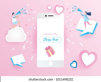 Sale promotion on mobile phone design for banner sale with lovely joyful couple celebration in pink background. pink heart and love.Vector illustration..paper art style.