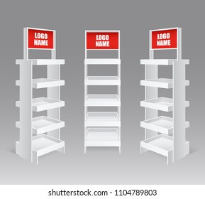 Sale promotion retail trade stand shelves blank empty realistic set with red product name advertising vector illustration