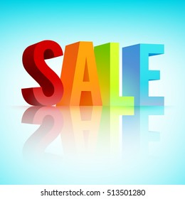 Sale promotion template with big 3d colorful letters and reflection on light blue background isolated vector illustration