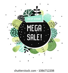 Sale Promotional Banner with Abstract Elements. Promo Floral Background. Summer Trendy Promotional Flyer, Poster. Tropical Label. Vector illustration