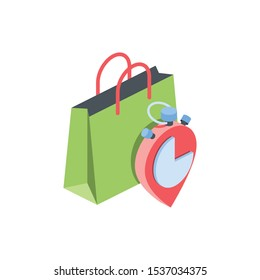 Sale, purchase, buy, package. Vector 3d isometric, color web icon, new flat style. Creative illustration design, idea for infographics.