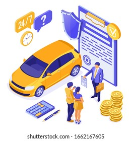 Sale, purchase, insurance, rent car isometric for landing, advertising with car, couple with credit card, realtor, insurant, support. Auto rental, carpool, carsharing. isolated vector illustration