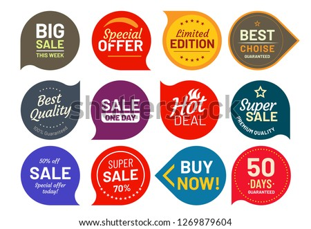 Sale quality badges. Round hundred percent assured label badge. Sticker, exclusive premium best price button. Seller offer big sale, hot deal or buy now signage vector illustration isolated icons set