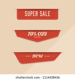 Sale red banner and new tag label and badges vintage design.
