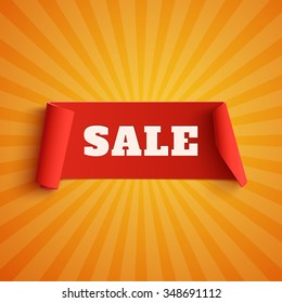 Sale, red banner on orange background with light rays. Vector illustration.