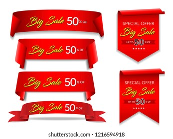 Sale red banner set. Ribbons and round sticker. Paper scrolls. Vector illustration.