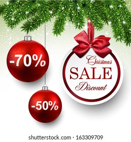 Sale red round labels. Christmas balls over starry background with fir branches. Vector illustration.