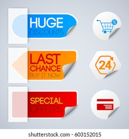 Sale and retail labels set with special discounts symbols paper style isolated vector illustration