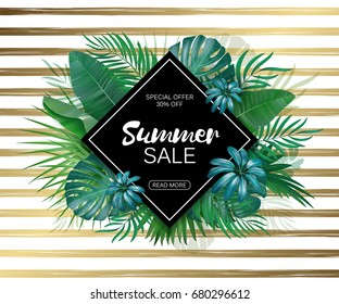 Sale. Rhombus summer sale tropical leaves frame on gold striped backdrop. Tropical flowers, leaves and plants background