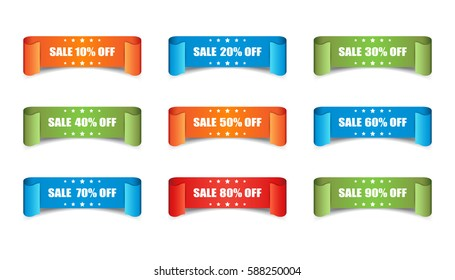 Sale ribbon vector icon. Discount sticker label set on white background.