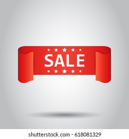 Sale ribbon vector icon. Discount, sold sticker label on white background.