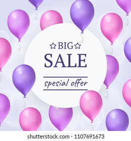 Sale round banner with flying purple balloons