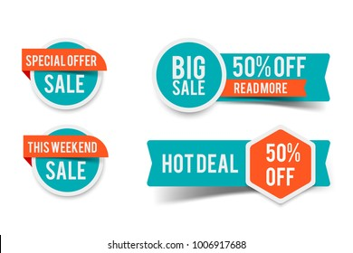 Sale round banner set, circle special offer tag collection. Hot deal 50% off badge template, this weekend only sale icon.