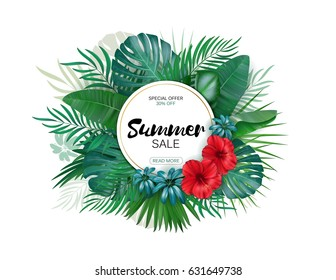 Sale. Round summer sale tropical leaves frame. Tropical flowers, leaves and plants background