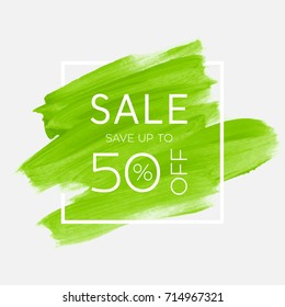 Sale save up to 50% off sign over watercolor art brush stroke paint abstract background vector illustration. Perfect acrylic design for a shop and sale banners.