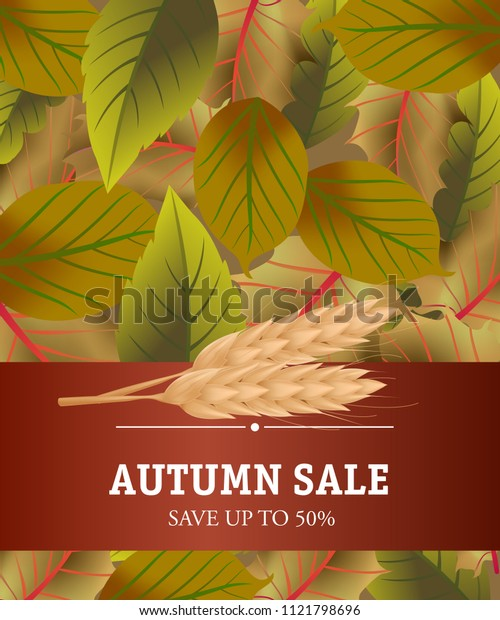 Sale Save up to fifty percent lettering on brown background. Creative inscription with wheats and dark green leaves. Illustration with lettering can be used for banner, posters and leaflets