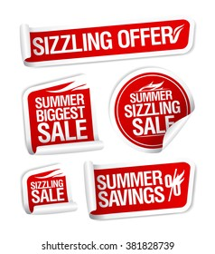 Sale and savings stickers set, Summer sizzling offers.