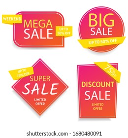 Sale - set of color modern labels. Sale and discounts. Set of flat design sale stickers