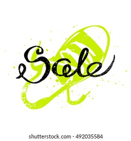 Sale Shoe Discount. White background. Flat, vector, illustration