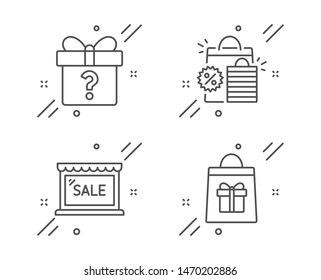 Sale, Shopping bags and Secret gift line icons set. Holidays shopping sign. Sale discount, Unknown package, Gifts bag. Holidays set. Line sale outline icon. Vector