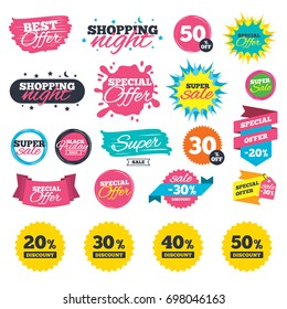 Sale shopping banners. Sale discount icons. Special offer price signs. 20, 30, 40 and 50 percent off reduction symbols. Web badges, splash and stickers. Best offer. Vector