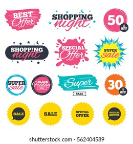 Sale shopping banners. Special offer splash. Sale icons. Special offer speech bubbles symbols. Shopping signs. Web badges and stickers. Best offer. Vector