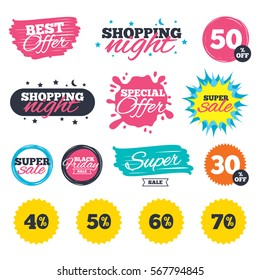 Sale shopping banners. Special offer splash. Sale discount icons. Special offer price signs. 40, 50, 60 and 70 percent off reduction symbols. Web badges and stickers. Best offer. Vector