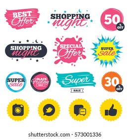 Sale shopping banners. Special offer splash. Hipster photo camera icon. Like and Chat speech bubble sign. Bird symbol. Web badges and stickers. Best offer. Vector