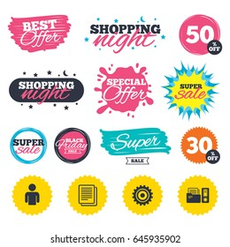 Sale shopping banners. Special offer splash. Accounting workflow icons. Human silhouette, cogwheel gear and documents folders signs symbols. Web badges and stickers. Best offer. Vector