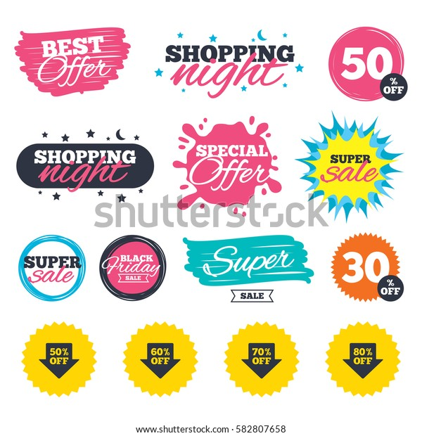 Sale shopping banners. Special offer splash. Sale arrow tag icons. Discount special offer symbols. 50%, 60%, 70% and 80% percent off signs. Web badges and stickers. Best offer. Vector