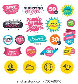 Sale shopping banners. Travel icons. Sail boat with lifebuoy symbols. Cloud with sun weather sign. Palm tree. Web badges, splash and stickers. Best offer. Vector