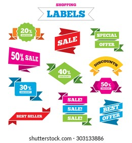 Sale shopping labels. Sale discount icons. Special offer price signs. 20, 30, 40 and 50 percent off reduction symbols. Best special offer. Vector