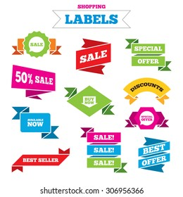 Sale shopping labels. Sale icons. Special offer speech bubbles symbols. Buy now arrow shopping signs. Available now. Best special offer. Vector